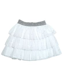 Young Birds Star Print Shimmer Skirt - White