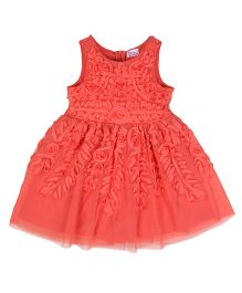 Teeny Tantrums Ribbon Dress With Floral Design - Orange