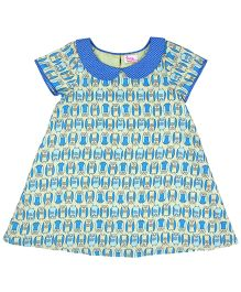 Teeny Tantrums Owl Print A-Line Dress - Light Green