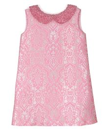 Teeny Tantrums Jacquard Dress With Hand Beaded Collar - Pink