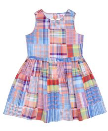 Teeny Tantrums Plaid Printed Dress - Multicolor