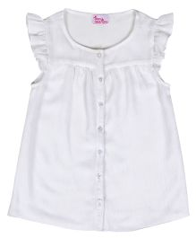 Teeny Tantrums Ruffled Sleeves Top - White