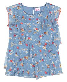 Teeny Tantrums Floral Frill Top - Ash Blue