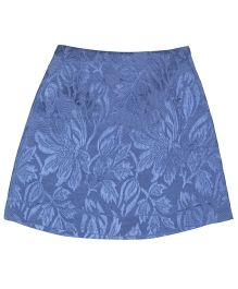 Teeny Tantrums Jacquard Floral Design A Line Skirt - Blue