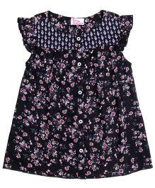 Teeny Tantrums Floral Pirinted Top - Black