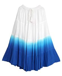 Teeny Tantrums Dual Tone Ankle Length Skirt - White & Blue