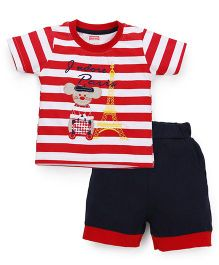Babyhug Half Sleeves Striped T-Shirt And Shorts Eiffel Tower Embroidery - Red