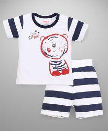 Babyhug Half Sleeves T-Shirt And Stripe Shorts Tiger Print - White Navy