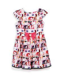 Barbie Cap Sleeves Frock Doll Print - Pink