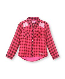 Barbie Full Sleeves Check Shirt - Pink Black