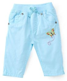Babyhug Capri Butterfly Embroidery - Blue