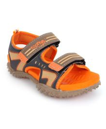 Footfun Sandals Dual Velcro Closure - Grey & Orange