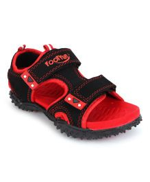 Footfun Sandals Dual Velcro Closure - Red & Black