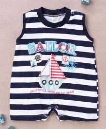 Super Baby Sailor Print Romper - Blue