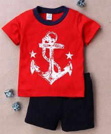 Super Baby Anchor Print Tee & Shorts Set - Red & Dark Blue