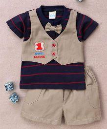 Super Baby No 1 Print Tee & Shorts Set - Khaki & Dark Blue