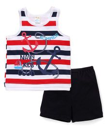 Super Baby Anchor Print Tee & Shorts Set - Red & Blue