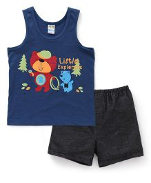 Super Baby Little Explorers Vest & Shorts Set - Teal Blue & Black