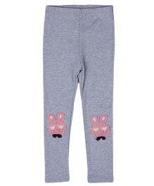 Aww Hunnie Bunny Applique Legging - Grey
