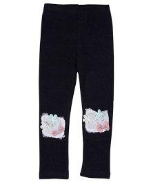 Aww Hunnie Flower Applique & Bow Patch Work Legging - Black