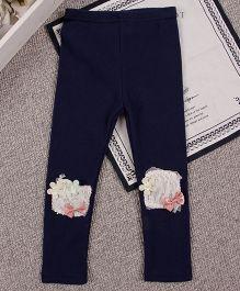 Aww Hunnie Flower Applique & Bow Patch Work Legging - Navy Blue