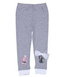 Aww Hunnie Number 5 Bow Tie Legging - Grey