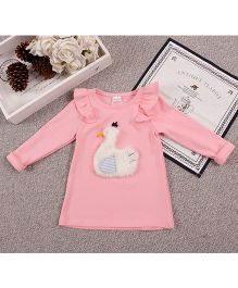 Aww Hunnie Duck Patch Work Long Top - Pink