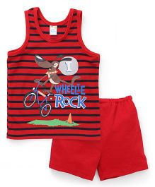 Super Baby Wheelie Rock Print Vest & Shorts Set - Red
