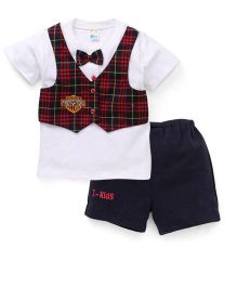 Super Baby Fire Fighters Tee & Shorts Set - Blue & White