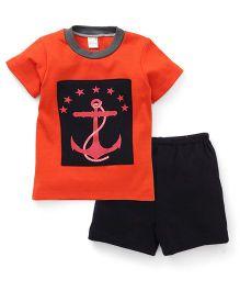 Super Baby Anchor Print Tee & Shorts Set - Orange & Black