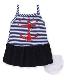 Super Baby Stripe & Anchor Print Dress With Bloomer - Blue & White