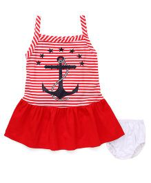 Super Baby Anchor & Star Print Dress With Bloomer - Red