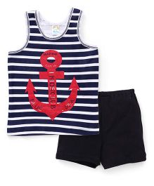 Super Baby Anchor Print Vest & Shorts Set - Navy Blue & White