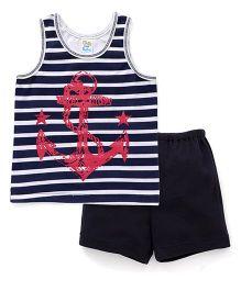 Super Baby Stripes Anchor Print Vest & Shorts Set - White & Navy Blue