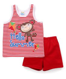 Super Baby Hello Summer Print Tee & Shorts Set - Red