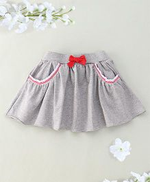 Hallo Heidi Bow Applique Skirt With 2 Front Pockets - Grey