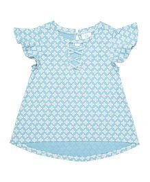 Orgaknit Organic Cotton Flutter Sleeves Printed Top - Blue