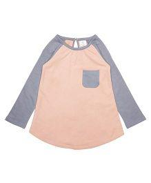 Orgaknit Organic Cotton Two Colour Comfy Top - Peach & Grey