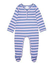 Orgaknit Organic Cotton Splendid Stripes Footed Romper - Blue Pink