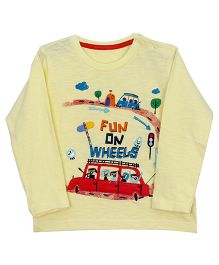 Bella Moda Full Sleeves Funky Car Print T- Shirt - Yellow