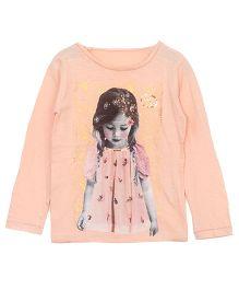 Bella Moda Girl Print Top - Peach