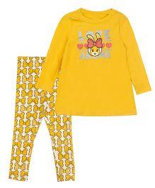 Bella Moda Hearts Print Tee & Ribbon Leggings Set - Yellow