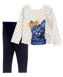 Bella Moda Funky Cat Print Full Sleeves Tee & Leggings Set - Blue & White