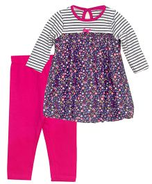 Bella Moda Full Sleeves Floral Tee & Leggings Set - Multicolor