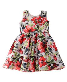Babyhug Sleeveless Party Wear Frock Flower Applique - White