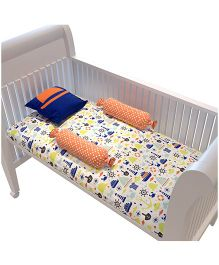 Fancy Fluff Premium Cot Bedsheet Pillow & Bolster Set Little Man Theme - Blue Yellow Peach