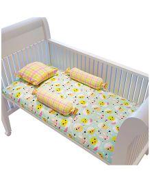 Fancy Fluff Premium Cot Bedsheet Pillow & Bolster Set Chick Theme - Sea Green Yellow White