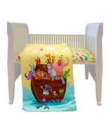 Fancy Fluff Premium Digitally Printed Comforter Noahs Ark Theme - Multicolor