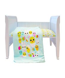 Fancy Fluff Premium Digitally Printed Comforter Chick Theme - Sea Green Yellow White