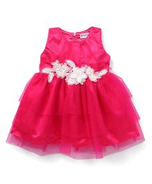 Peppermint Sleeveless Party Wear Frock With Floral Applique - Pink